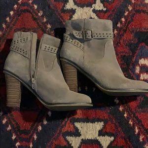 Tan leather heeled booties
